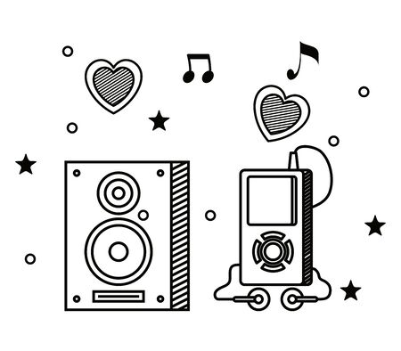 stereo and mp4 with quaver and beam notes to music melody vector illustration