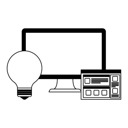 desktop computer with webpage template and bulb vector illustration design