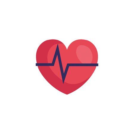 Pulso de frecuencia cardíaca icono aislado diseño ilustración vectorial