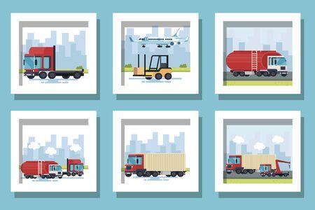 bundle of delivery vehicles transportation vector illustration design 向量圖像