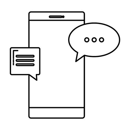 smartphone device with speech bubbles chat vector illustration design