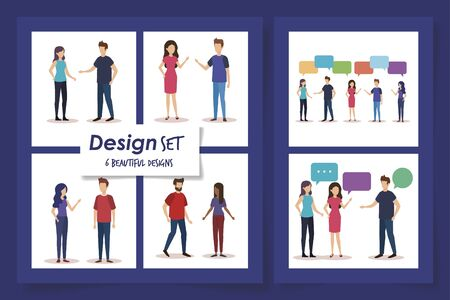 set six designs of young people talking vector illustration design