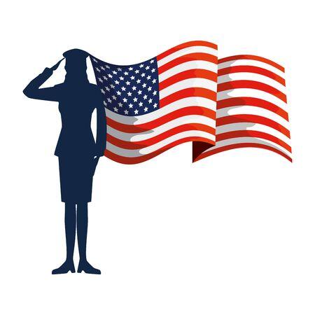 Silhouette de femme militaire avec usa flag vector illustration design Vecteurs
