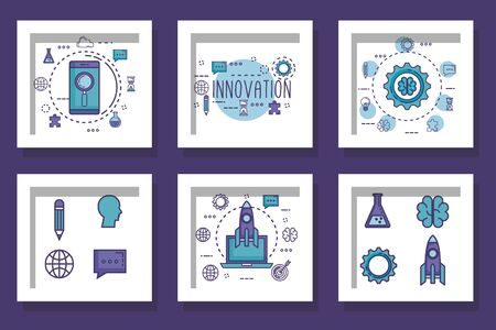 bundle with designs of teamwork and icons vector illustration design