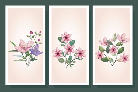 bundle cute flowers with branch and leafs vector illustration design