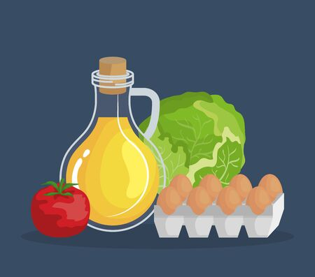 olive oil with tomato and eggs with lettuce nutrition to healthy food vector illustration