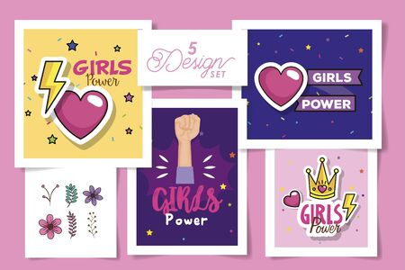 set five designs of girl power cards with decoration vector illustration design 向量圖像