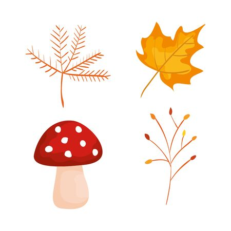 set of nature branches plants with leaf and fungus over white background, vector illustration 向量圖像