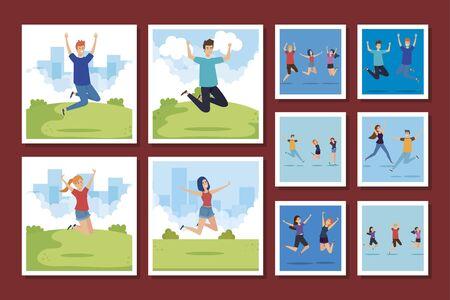bundle of group teenager happy vector illustration design
