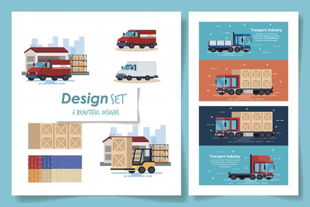 impostare sei modelli di trasporto industriale illustrazione vettoriale design Vettoriali