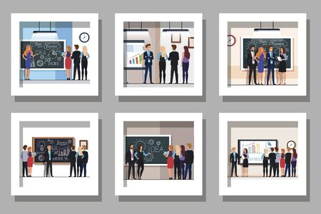 bundle of designs with meeting business people vector illustration design Illusztráció