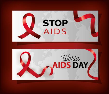 set poster with world aids day and ribbon vector illustration design 矢量图像