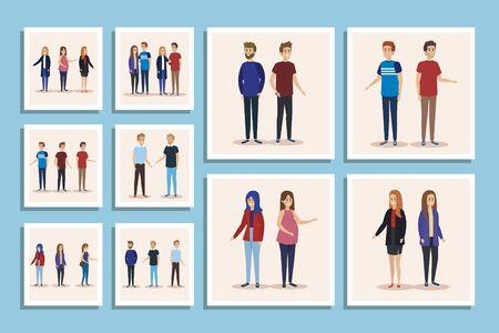 set group of parents avatar character vector illustration design