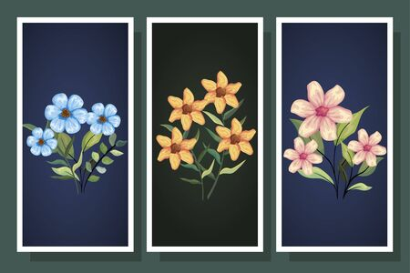 bundle cute flowers with branch and leaf vector illustration design