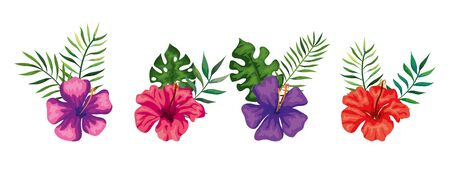 set of cute flowers with branches and leafs vector illustration design