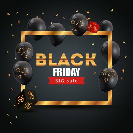 poster black friday poster with big offer lettering vector illustration design Illustration