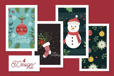 set four designs of merry christmas poster with decoration vector illustration design