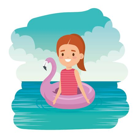 cute little girl lady with flemish float in the sea vector illustration design