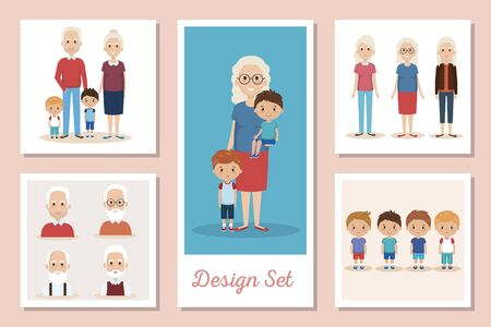 designs set scenes of grandparents with grandchildren vector illustration design 向量圖像