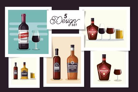 five designs of bottles whiskey and cup glass vector illustration design