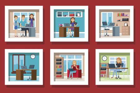 bundle of young people in the workplace vector illustration design