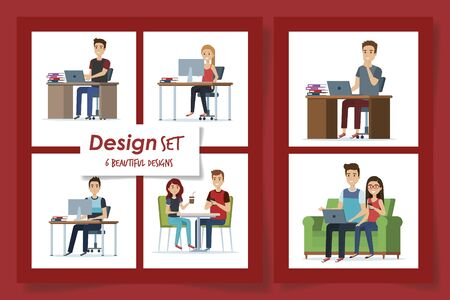 six designs of young people in the workplace vector illustration design Çizim