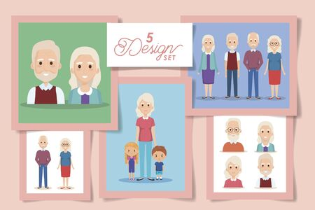 five designs of grandparents with grandchildren vector illustration design