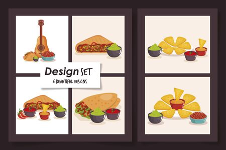 six designs of food mexico traditional vector illustration design