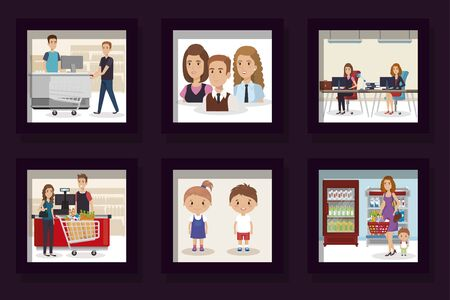 bundle of designs of business people with purchaser and children vector illustration design