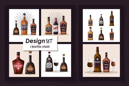 six designs of bottles whiskey and cup glass vector illustration design Ilustração