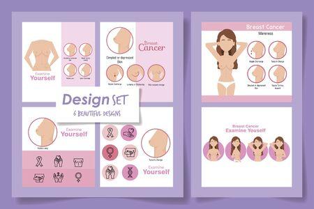 six designs of breast cancer awareness vector illustration design 向量圖像