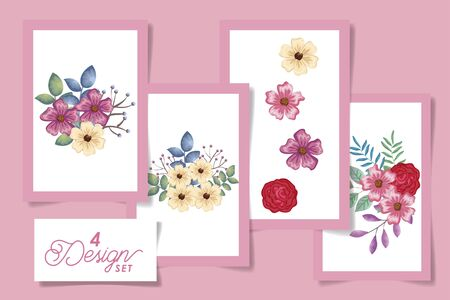 four designs of flowers with leafs naturals vector illustration design Stock Vector - 137328550