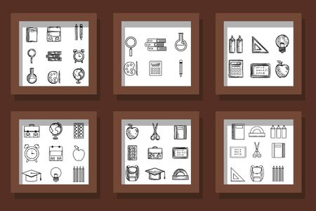 bundle of designs drawn school education supplies vector illustration design