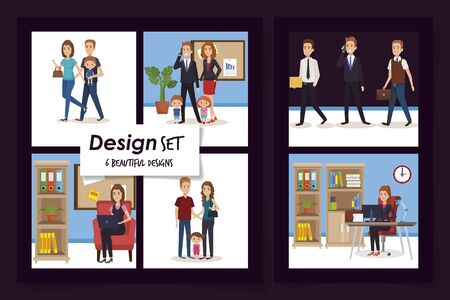 six designs of business people with members parents vector illustration design Çizim