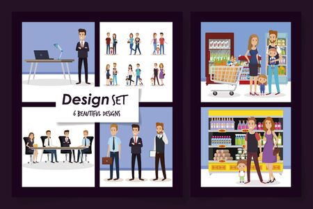 six designs of business people and purchaser vector illustration design