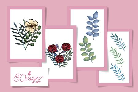 four designs of flowers with leafs naturals vector illustration design