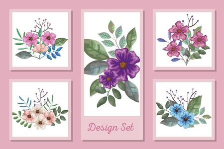 designs set of decoration of flowers with leafs vector illustration design  イラスト・ベクター素材