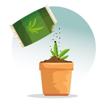 cannabis plant inside plantpot and marijuana bag vector illustration