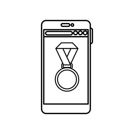 Medal and smartphone design, Winner competition success sport achievement leadership and challenge theme Vector illustration