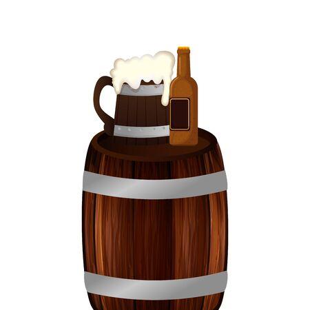 Beer barrel bottle and mug design, Pub alcohol bar brewery drink ale and lager theme Vector illustration
