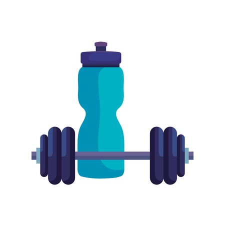 bottle water plastic with dumbbell isolated icon vector illustration design