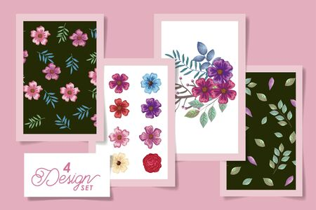 four designs of flowers with leafs naturals vector illustration design Stock Vector - 137401657