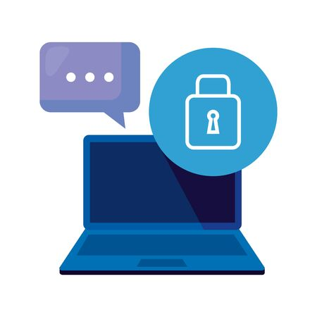 laptop computer with padlock and speech bubble vector illustration design  イラスト・ベクター素材
