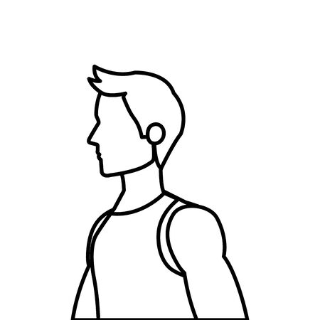 young man athlete line style icon vector illustration design