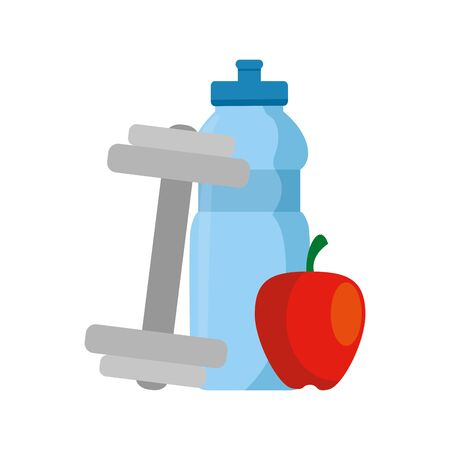 dumbbell with bottle water and apple vector illustration design Illusztráció