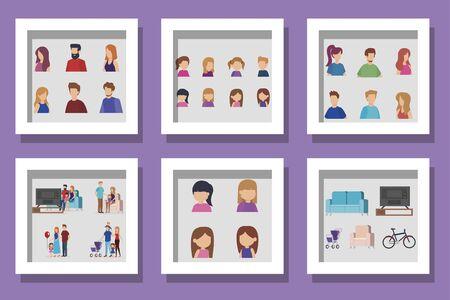 bundle of members family scenes vector illustration design