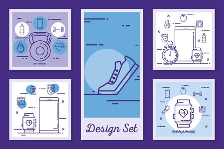 designs set of lifestyle healthy and icons vector illustration design Illustration
