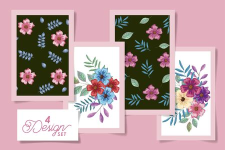 four designs of flowers with leafs naturals vector illustration design Stock Vector - 137401698