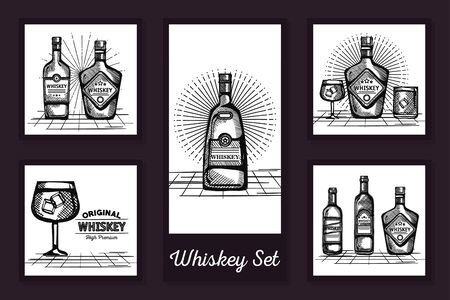 designs drawn of bottles whiskey and cups glass vector illustration design