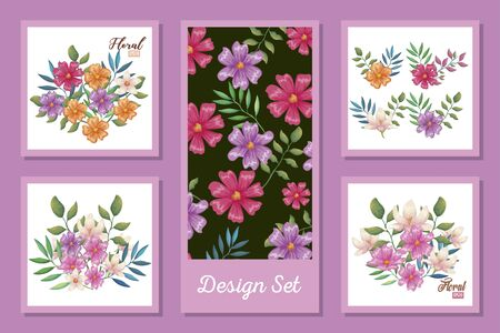 designs set of flowers and leafs decoration vector illustration design